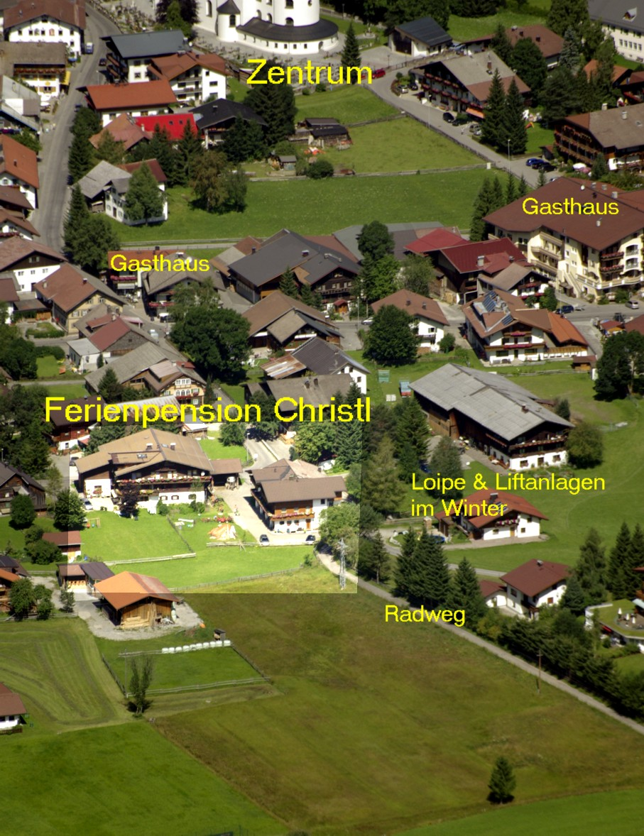 Luftbild Ferienpension Christl
